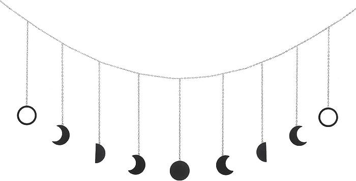 OCIOLI Moon Phase Garland with Chains Boho Hanging Ornaments Moon Hang Art Room Decor for Wedding Home Office Nursery Room Dorm (Black)