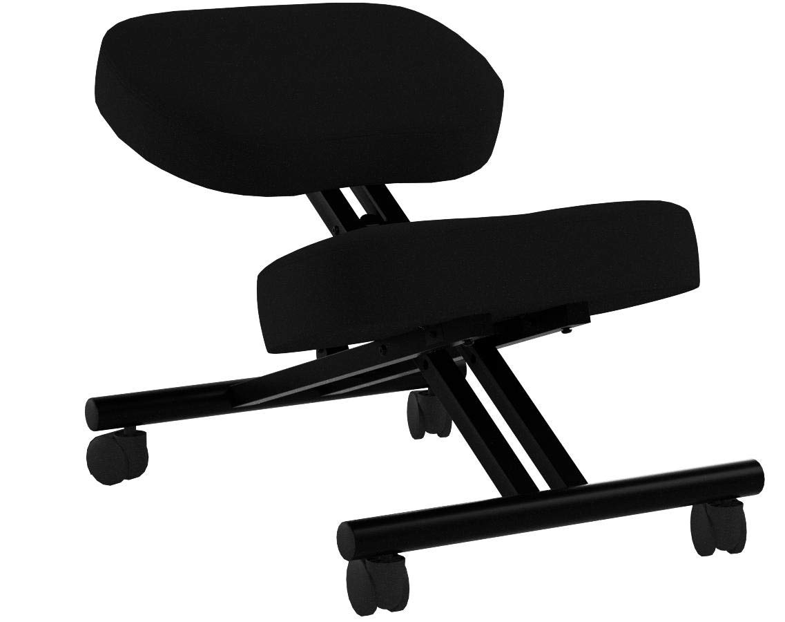 Comfort Plus Soft Fabric Kneeling Chair | Extra Padding and Ultra Soft Design, Black, Adjustable with Rollers | Ergonomic Kneeling Chair for Home and Office | Warranty Included by Comfort Plus