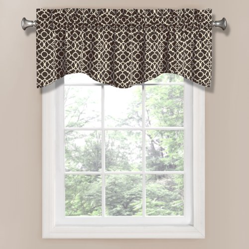 Waverly 12459050X016OYX Lovely Lattice 50-Inch by 16-Inch Window Valance, Onyx (Kitchen Valances Black)