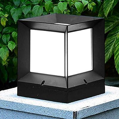 Enchufe de la luz baliza por el exterior Negro IP44 lámparas pilar lámparas a base aluminio blanco del balón cabeza E27 lámpara cerámica resistente al agua acrílica césped del jardín Terraza bolardo: