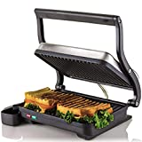 Ovente Electric Panini Press Grill, 2-Slice 1000W Heating Plate, 10.2