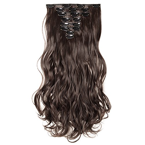 Clip in Hair Extensions Synthetic Full Head Charming Hairpieces Thick Long Straight 8pcs 18clips for Women Girls Lady (24 inches-wavy, dark brown) by Beauti-gant