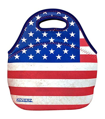 Flag Lunch - KOVERZ - #1 Neoprene Lunch Bag, Lunch Tote - CHOOSE YOUR STYLE! - American Flag