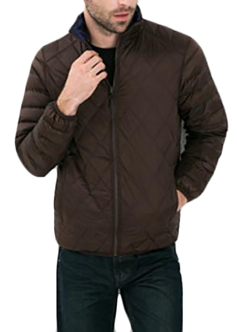Pandapang Mens Reversible Stand Collar ThickenPuffer Down Jackets Coats Coffee XS