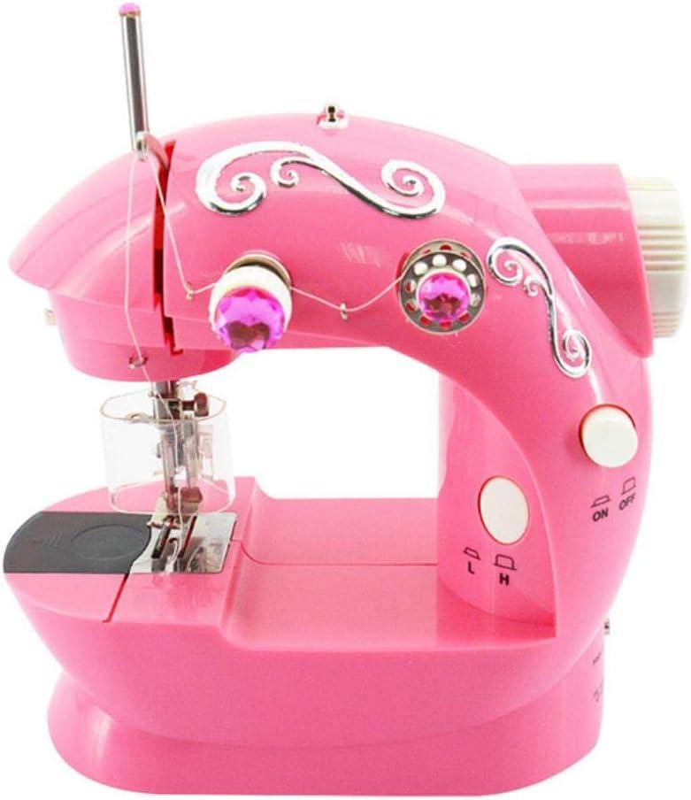 xiaocheng Mini máquina de Coser en casa los niños, el Comercio Libre de la máquina de Coser Ropa de Brazo móvil de la reparación,Brown
