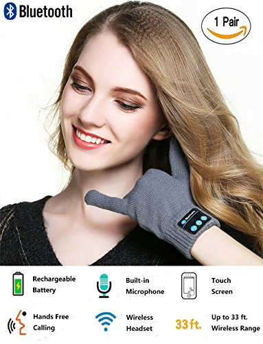 Price comparison product image Bluetooth Gloves, Wireless Bluetooth Gloves, Winter Gloves with Hands Call Talking & Music & Touch Screen Knit Warmer Gloves for Outdoor Sports, Running, Walking, Christmas Gifts (gray)