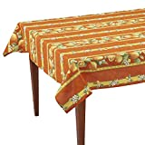 Citrons Orange Striped Rectangular French Tablecloth, Coated Cotton, 61 x 118 (8-10 people)