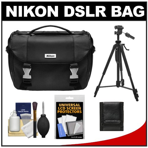 Nikon Deluxe Digital SLR Camera Case – Gadget Bag with Nikon 60″ Tripod + Cleaning Kit for D7000, D5100, D5000, D3200, D3100, D800, D90, D60, D40 and D4, Best Gadgets