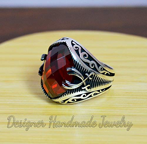 - MEN'S gemstone ring silver men ring ottoman mens ring red garnet mans ring gift for him 925 sterling silver ring oval shape stone ring father's day gift ring vintage mens ring