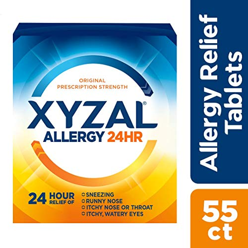 Xyzal Allergy 24 Hour, Allergy Tablet, 55 Count, All Day and Night Relief from Allergy Symptoms Including Sneezing, Runny Nose, Itchy Nose or Throat, Itchy, Watery Eyes (Best Over The Counter Medicine For Congestion And Runny Nose)