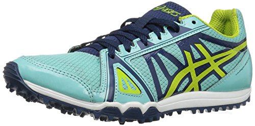 (ASICS Women's Hyper-Rocketgirl XCS Cross-Country Running Shoe, Aruba Blue/Neon Lime/Poseidon, 8 M US)