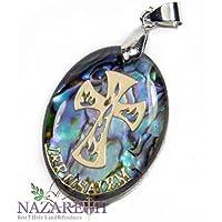 Catholic Cross Abalone Shell Pendant Pearl Crucifix Handmade Amulet Nazareth