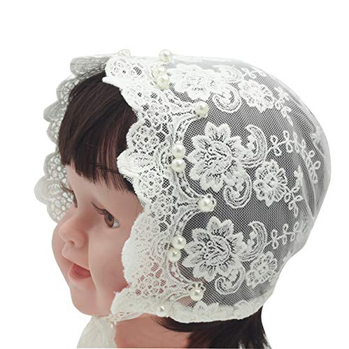 Baptism Bonnet - Nihao Baby Baptism Bonnet (A-White Lace Bonnet with Imitation Pearls, 9-12 Months)