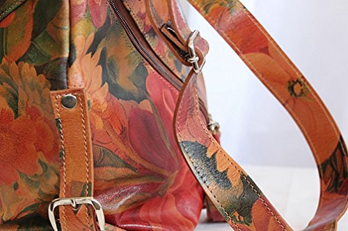 Leather 100 Full Floral Leather Bag Purse Grain Over Sized Travel gTfaaZ