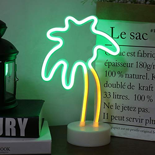 Palm Tree LED neon Sign Night Light with Base Coconut Tree Marquee Night lamp Table Light Best Gift for Family Birthday Holiday Party
