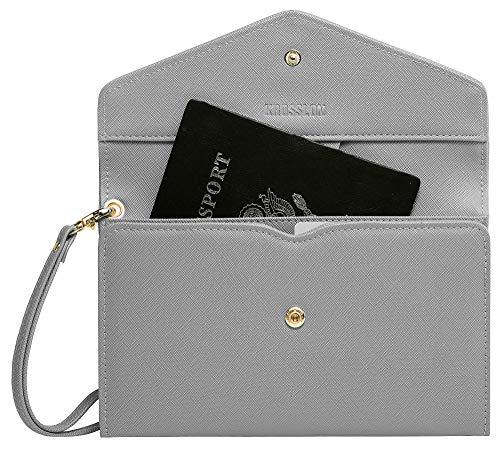 Krosslon Travel Passport Holder Wallet for Women Rfid Blocking Document Organizer Tri-fold Wristlet Bag, Quartz Grey