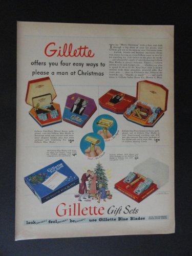 "Gillette Blue Blades, Christmas gift sets. print ad. 10 1/4"" x 13 1/2"" Full page Color Ilustration (Milord Razor,Gold Plated.) Original vintage 1947 Life Magazine Print Art."