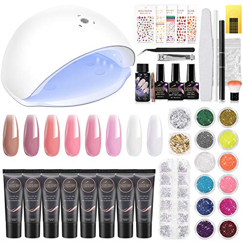 Cooserry Poly Gel Nail Kit - 8 Colors Nail Extension Gel Kit with 48W Led Lamp - Clear Pink Builder Gel for Nails with Slip Solution Top Base Coat Rhinestone Glitter Nail Manicure Beginner Starter Kit