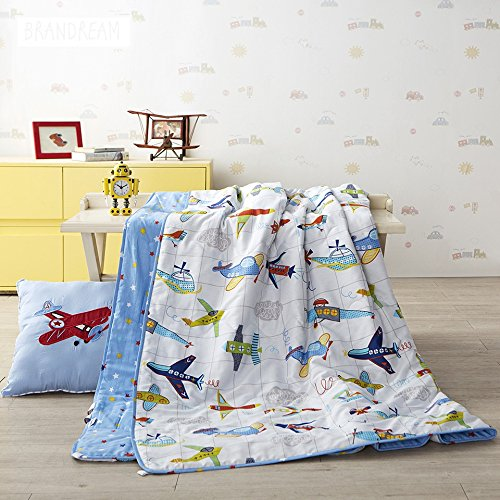 Brandream Blue Kids Bedding Airplane Printed Boys Quilt Comforter Throw Blanket Super Soft Cotton Quilts 1-Piece Summer Quilts Queen Size
