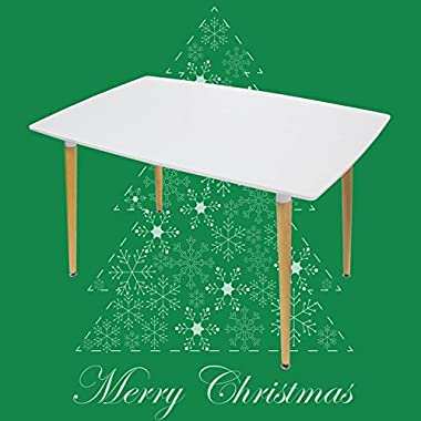 Hoddmimis Eames Style Rectangular Dining Table HK-WWT01, White