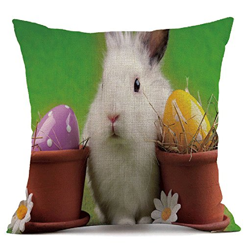 HYIRI Easter Sofa Bed Blue Sky Bunny Pattern Home Decoration Festival Pillow Case Cushion Cover]()