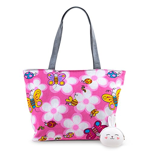 Pardao Butterfly Canvas Tote Bag - Cute Ladybugs, Flowers, Butterflies and a Bunny Purse Gift (Pink)
