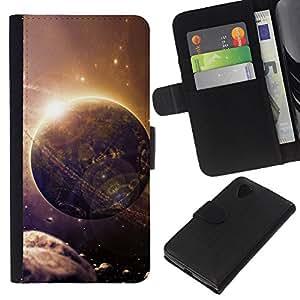 All Phone Most Case / Oferta Especial Cáscara Funda de cuero Monedero Cubierta de proteccion Caso / Wallet Case for LG Nexus 5 D820 D821 // Alien World Planet Art Future Asteroid Belt Space