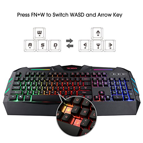 TECBEAN-Rainbow-LED-Backlit-Wired-Office-Gaming-Keyboard