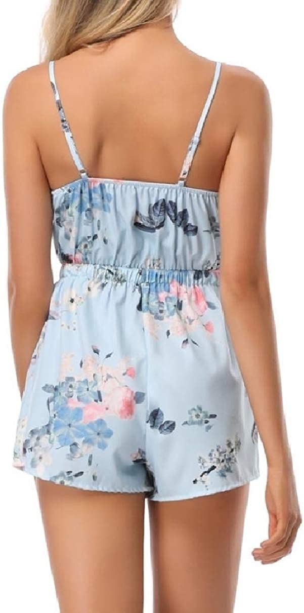 YIhujiuben Womens Shorts Cami One Piece Floral V-Neck Tie Knot Jumpsuits Rompers