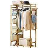 Ufine Bamboo Garment Rack 6 Tier Storage Shelves
