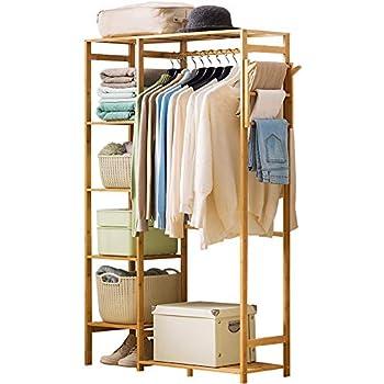 Amazon.com: ISINO Bamboo Wood Clothing Garment Rack with ...