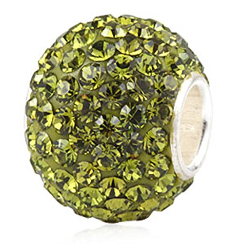 - Choruslove Top Quality Jan-Dec Birthstone Charms Sparkling Olivine Austrian Crystal Round 925 Sterling Silver Solid Core Bead for European Style Bracelet Jewelry