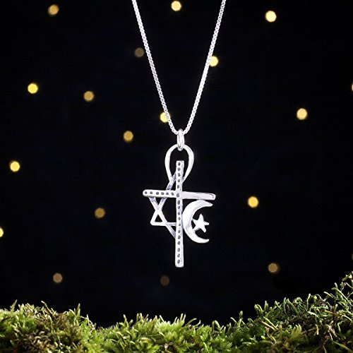 Sterling Silver Unity Pendant - Cross - Star of David - Crescent Moon - (Pendant or Necklace) (Star Unity)