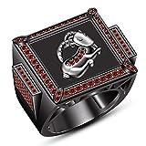 TVS-JEWELS Large Capricorn Daliy Wear Men s Ring Over 925 Silver Black Rhodium Plated Round Red Garnet
