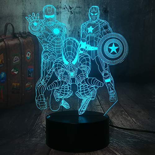 The Avengers Marvel Comics Iron Man Spiderman Captain America 3D Optical Illusion LED Night Light Boy Kids Toy Baby Sleep Desk Lamp Bedroom Decor Movie Fans Birthday Christmas Gift(The Avengers)