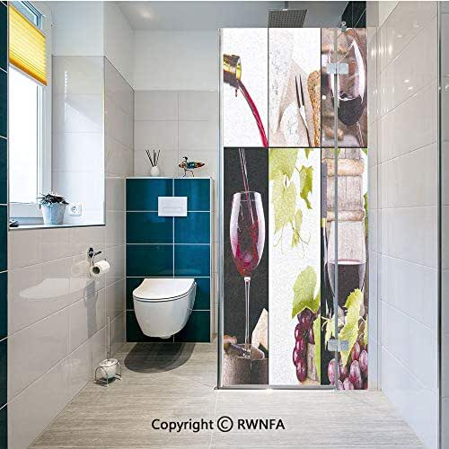 RWNFA Removable Static Decorative Privacy Window Films Wine Collage with Barrel Bottle Wineglass Grape Gourmet Taste Beverage Decorative for Glass (23.6In. by 70.8In),Burgundy Light Green White