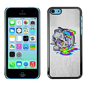 Colorful Printed Hard Protective Back Case Cover Shell Skin for Apple iPhone 5C ( Paint Colors Lsd Drugs Skull Deep Acid )