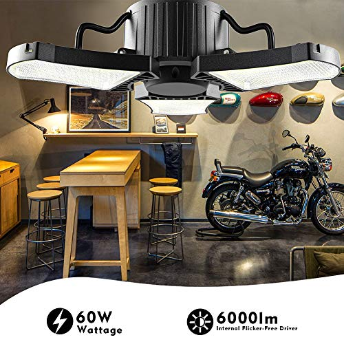 bulbeats Motion Activated LED Garage Light Bulb with 3 Adjustable Panel 60W (Eqv 200W) 6000LM 5000K Garage Ceiling Led… 2