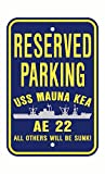 USS MAUNA KEA AE 22 Parking Sign Aluminum Navy Blue / Yellow 12