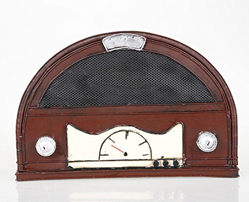 YOURNELO Handcrafted Creative Iron Art Nostalgic Retro Radio Model Decoration Semicircular Money Box Coin Piggy Bank (Pic - Pic Men Model