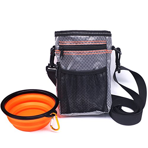 COODIA Puppy Treat Bag Pet Small Dog Bait Holder,Dog Training Pouch -Animal Walking Snack Container-with Collapsible Travel Bowl -