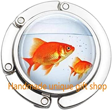 Amazon Com Beautiful Purse Hook Gift Purse Hook Fish Purse Hook Goldfish Bowl Fish Jewelry Fish Tank Aquarium Fish Bowl Art Bag Hook In Bronze Or Silver With Link Included Td060 A Office Products