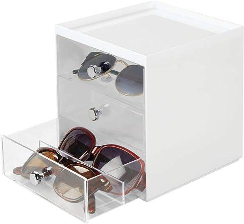 mDesign Caja para gafas de sol – Cajoneras de plástico con 3 cajones – Organizador de armarios para guardar todo tipo de gafas – blanco/transparente: Amazon.es: Hogar