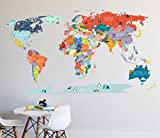 Wall Decal - World Map interactive map - Wall Sticker Room Decor Map Decor