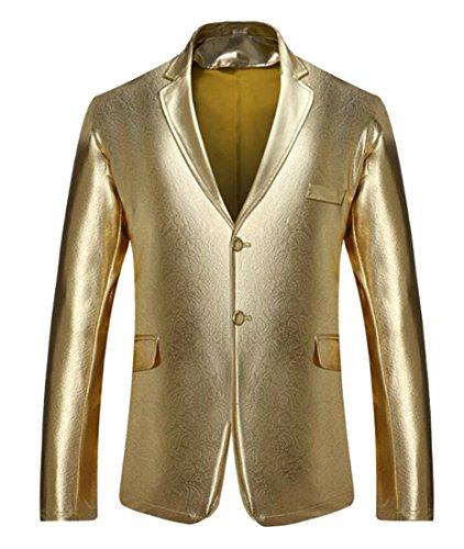 X-Future Men's Pockets Long Sleeve Buttons Metallic Lapel Club Blazer Jackets Gold M (Country Blazer Club)