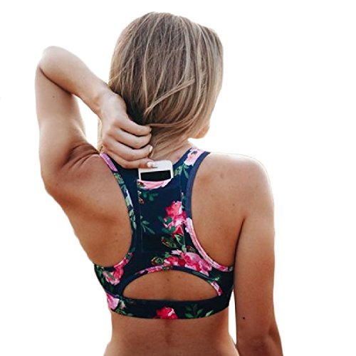 Coolred-Women Sports Bra Yoga Jogger Racerback Training Crop Top Blue M