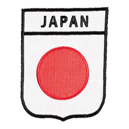 Japan Flag Shield Patch, Asian Country Flag Patches