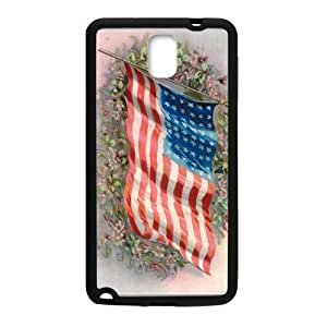 American Flag Flapping In The Wind On The Flower Group Samsung Galaxy note 3 Case Cover (Laser Technology)