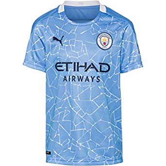 PUMA Unisex Mcfc Home Shirt Replica Ss Kids with Sponsor Logo T-shirt