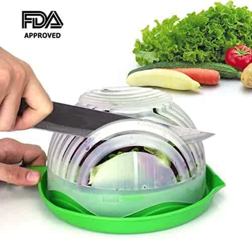 Salad Cutter Bowl 60 Seconds Salad Maker by WEBSUN Easy Fruit Vegetable Cutter Bowl Fast Fresh Salad Slicer Salad Chopper